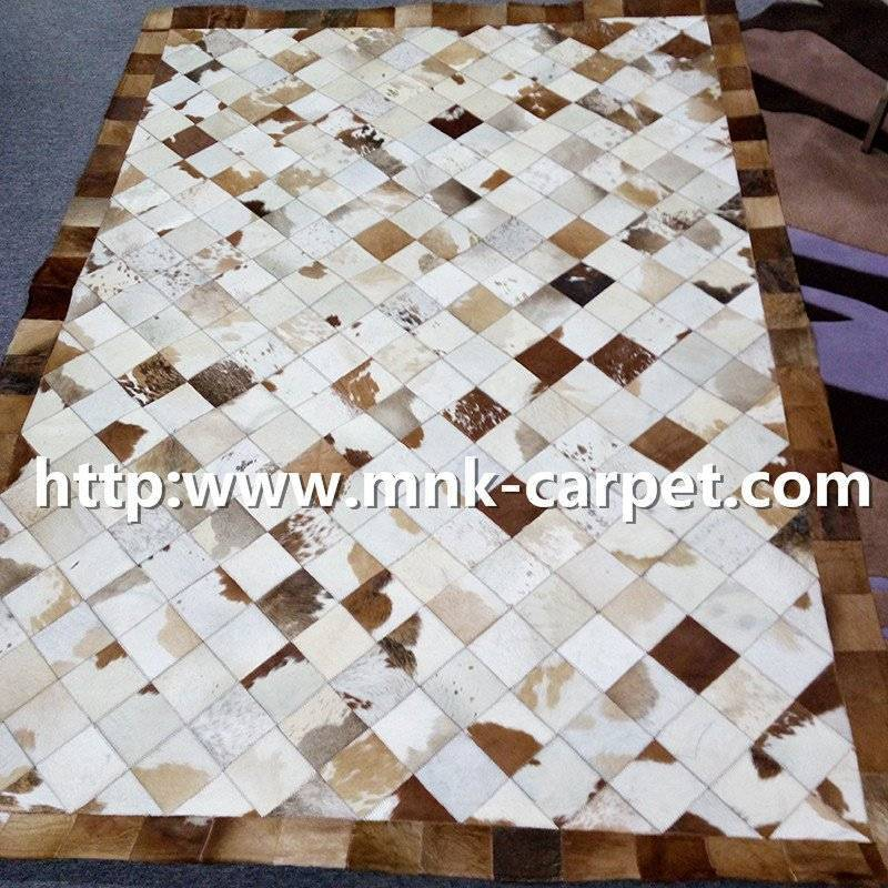 PU Backing Patchwork Cowhide Rug Kitchen Carpets