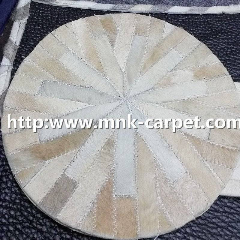 Round Shape Cow Hide Rugs For Meeting Room