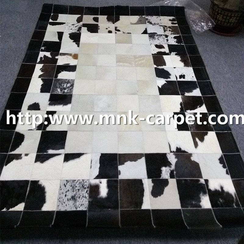 Elegant Black And Beige Color Patchwork Cowhide Rug